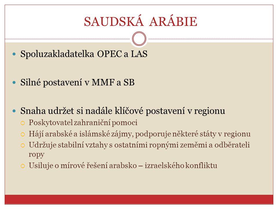 SAUDSKÁ ARÁBIE Spoluzakladatelka OPEC a LAS Silné postavení v MMF a SB