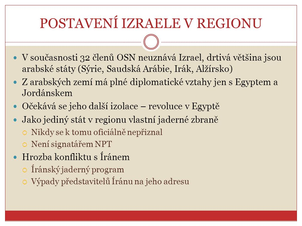 POSTAVENÍ IZRAELE V REGIONU