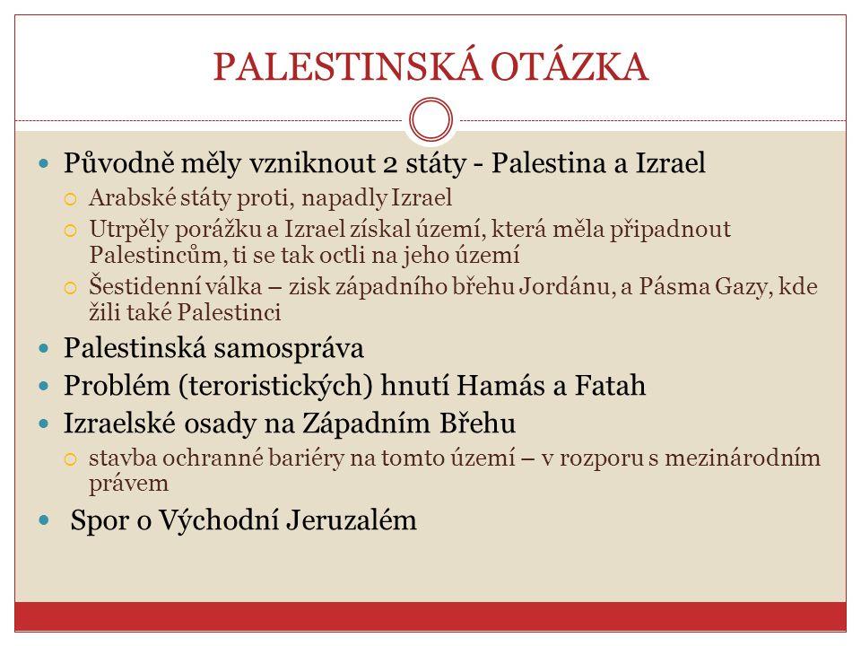 PALESTINSKÁ OTÁZKA Spor o Východní Jeruzalém