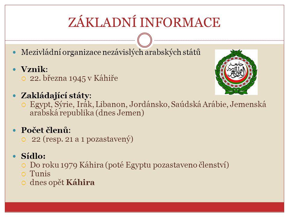 ZÁKLADNÍ INFORMACE Mezivládní organizace nezávislých arabských států