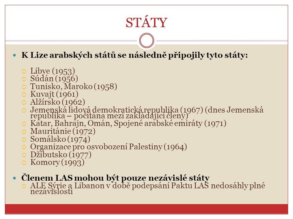 STÁTY K Lize arabských států se následně připojily tyto státy: