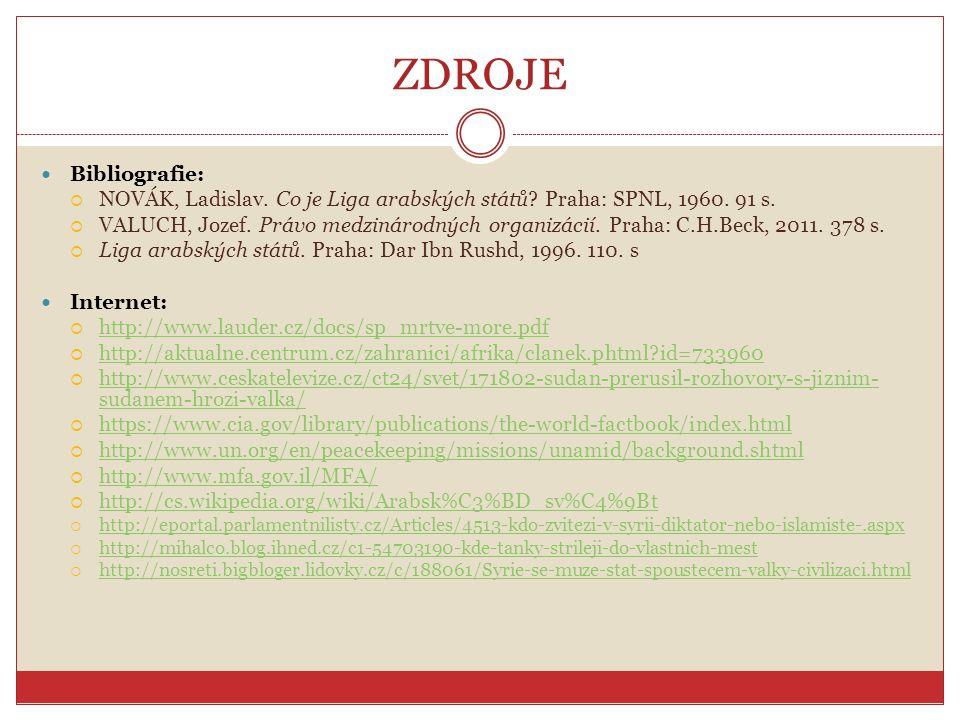 ZDROJE Bibliografie: NOVÁK, Ladislav. Co je Liga arabských států Praha: SPNL, 1960. 91 s.