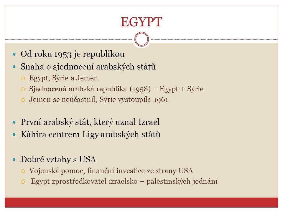 EGYPT Od roku 1953 je republikou Snaha o sjednocení arabských států