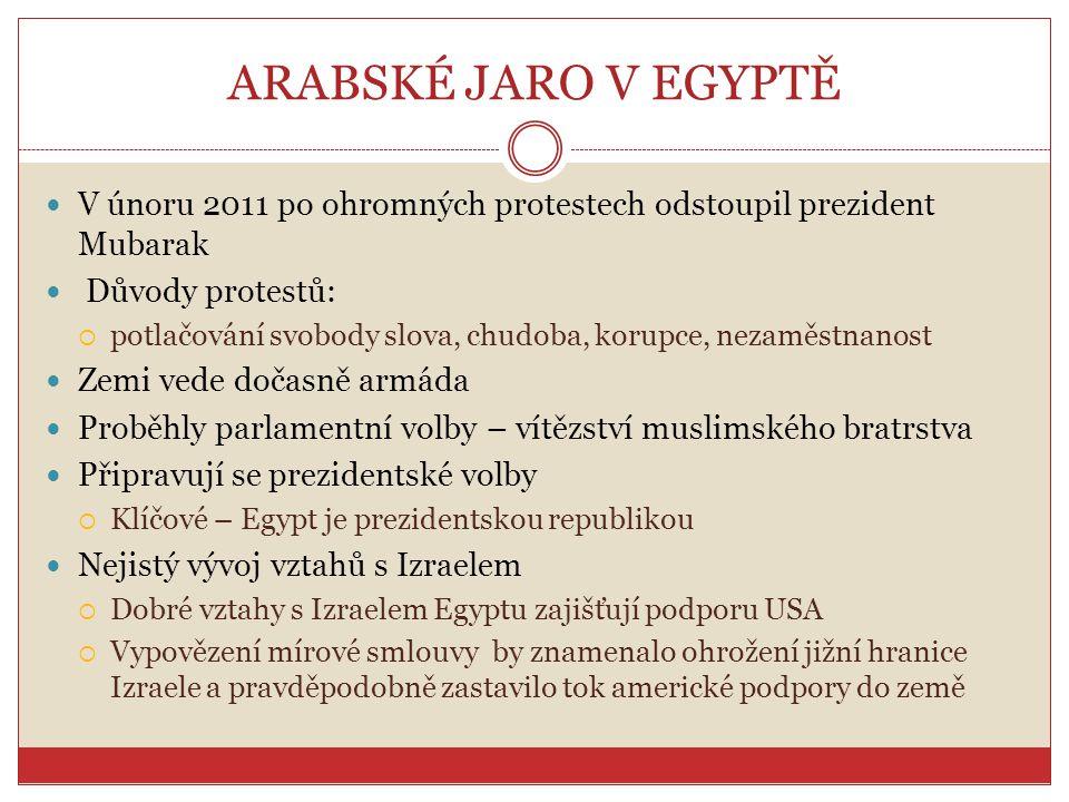 ARABSKÉ JARO V EGYPTĚ V únoru 2011 po ohromných protestech odstoupil prezident Mubarak. Důvody protestů: