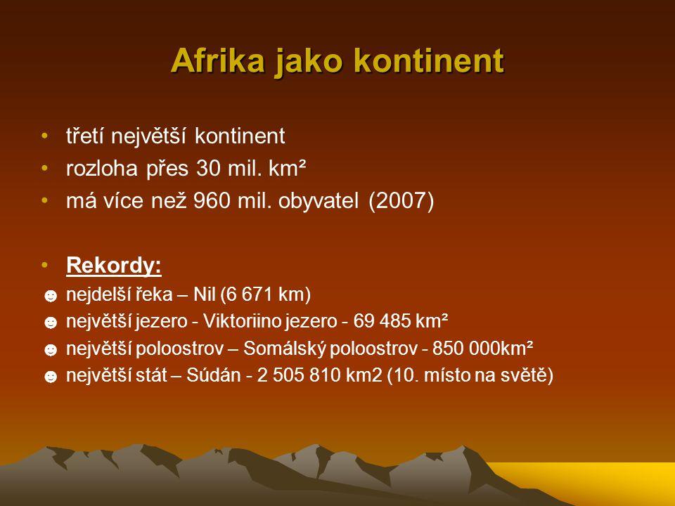 Afrika jako kontinent třetí největší kontinent