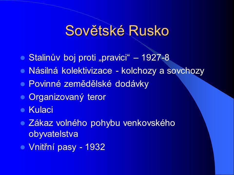 """Sovětské Rusko Stalinův boj proti """"pravici – 1927-8"""