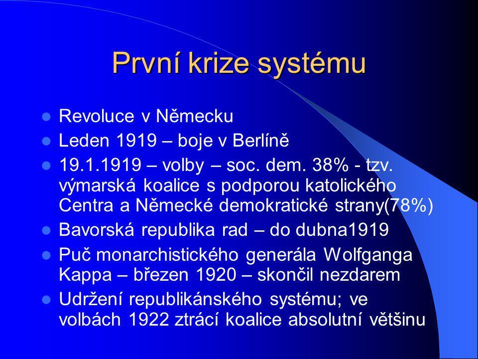 První krize systému Revoluce v Německu Leden 1919 – boje v Berlíně