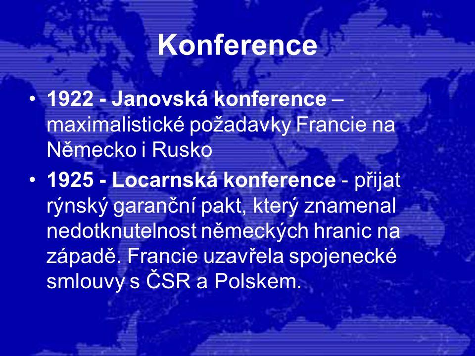 Konference 1922 - Janovská konference – maximalistické požadavky Francie na Německo i Rusko.