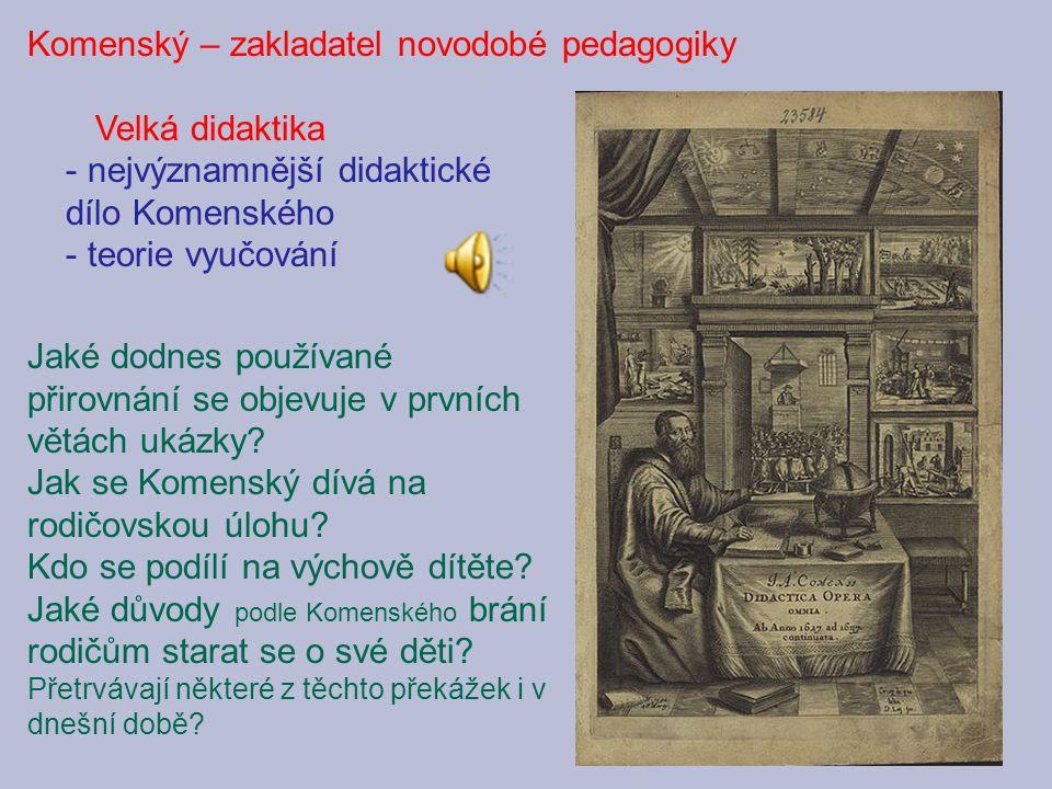 Komenský – zakladatel novodobé pedagogiky