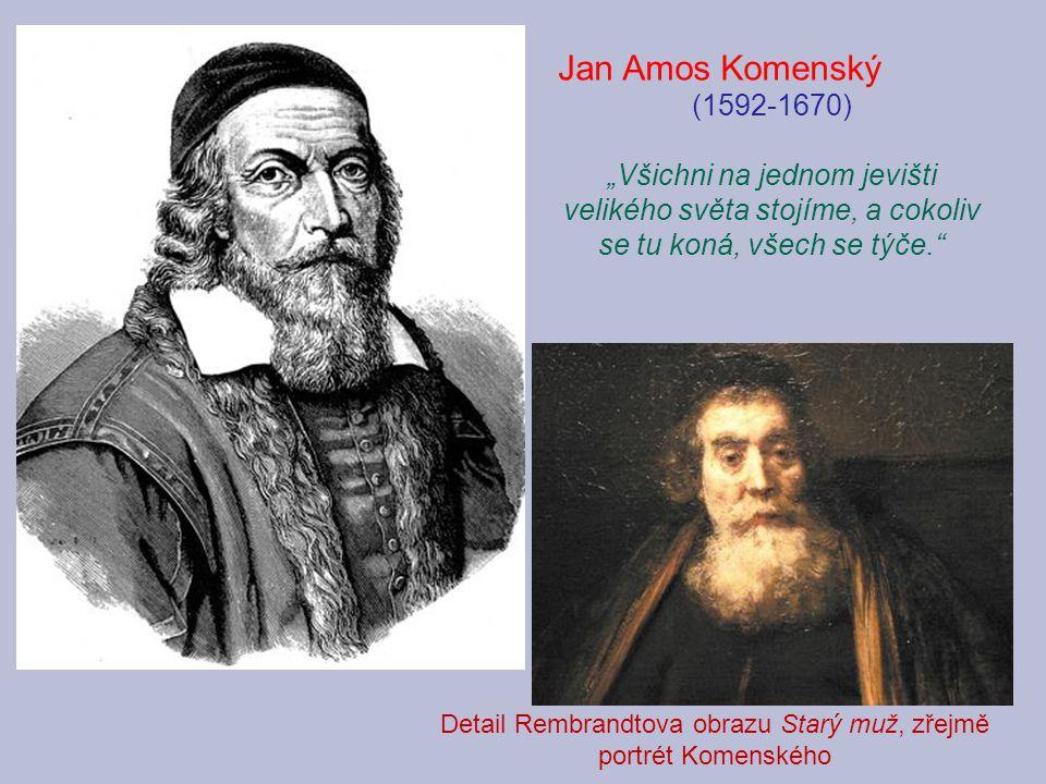Detail Rembrandtova obrazu Starý muž, zřejmě portrét Komenského