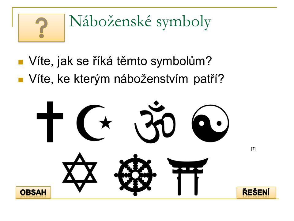 Náboženské symboly Víte, jak se říká těmto symbolům