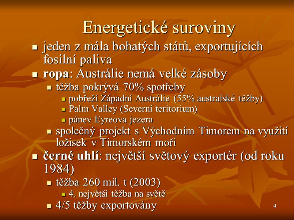 Energetické suroviny jeden z mála bohatých států, exportujících fosilní paliva. ropa: Austrálie nemá velké zásoby.