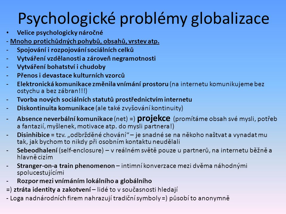 Psychologické problémy globalizace