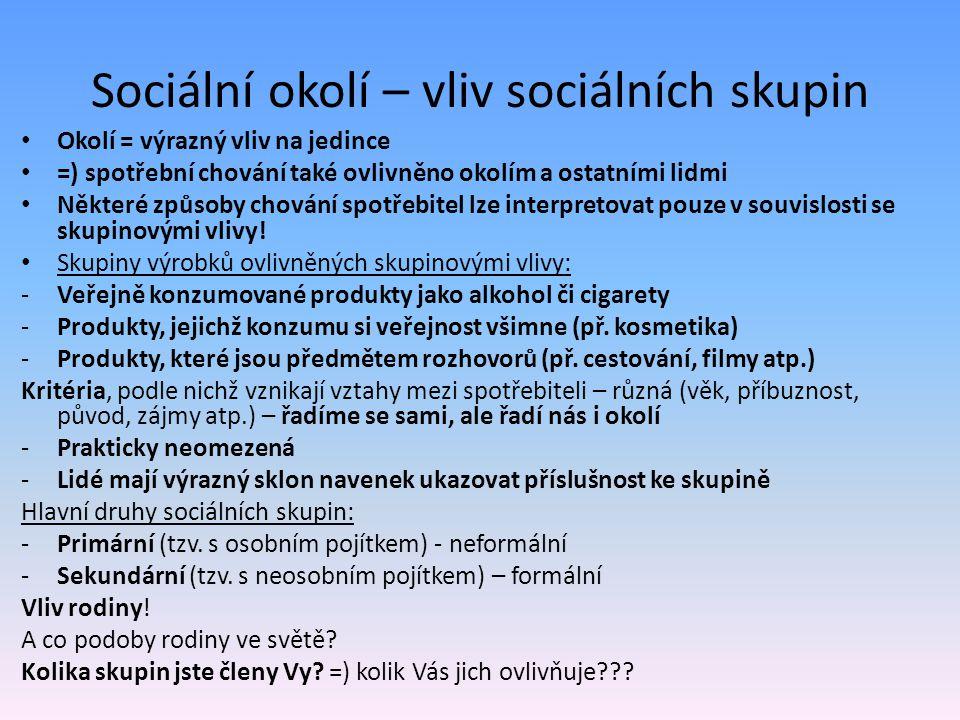 Sociální okolí – vliv sociálních skupin