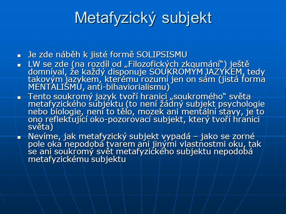 Metafyzický subjekt Je zde náběh k jisté formě SOLIPSISMU
