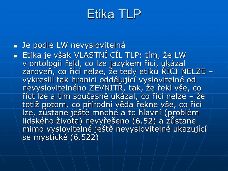 Etika TLP Je podle LW nevyslovitelná
