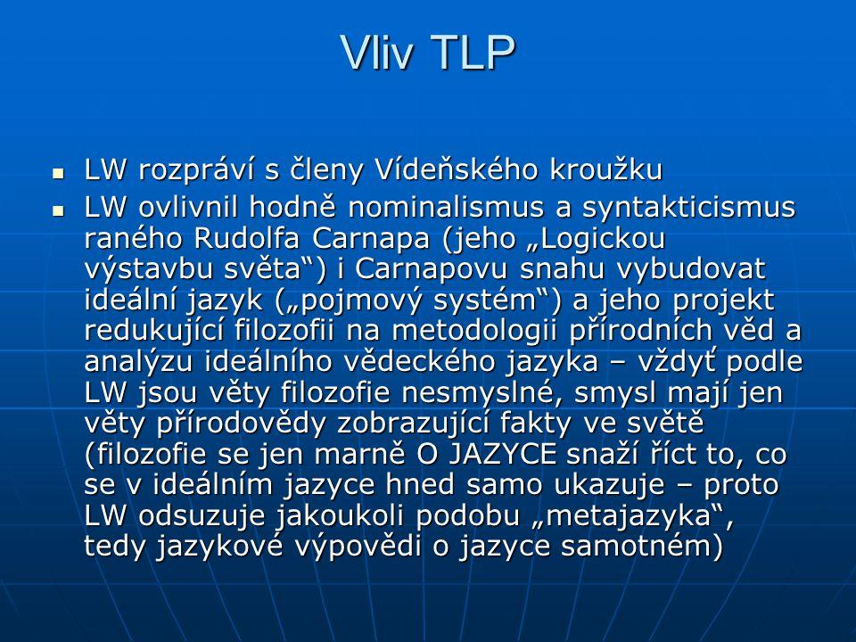 Vliv TLP LW rozpráví s členy Vídeňského kroužku