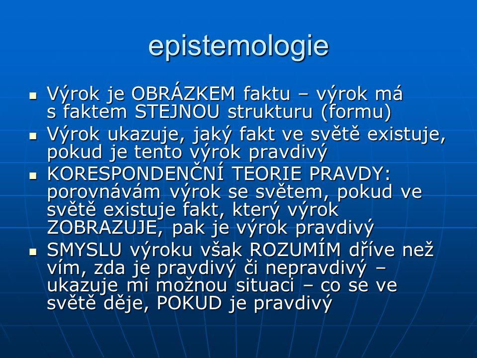 epistemologie Výrok je OBRÁZKEM faktu – výrok má s faktem STEJNOU strukturu (formu)