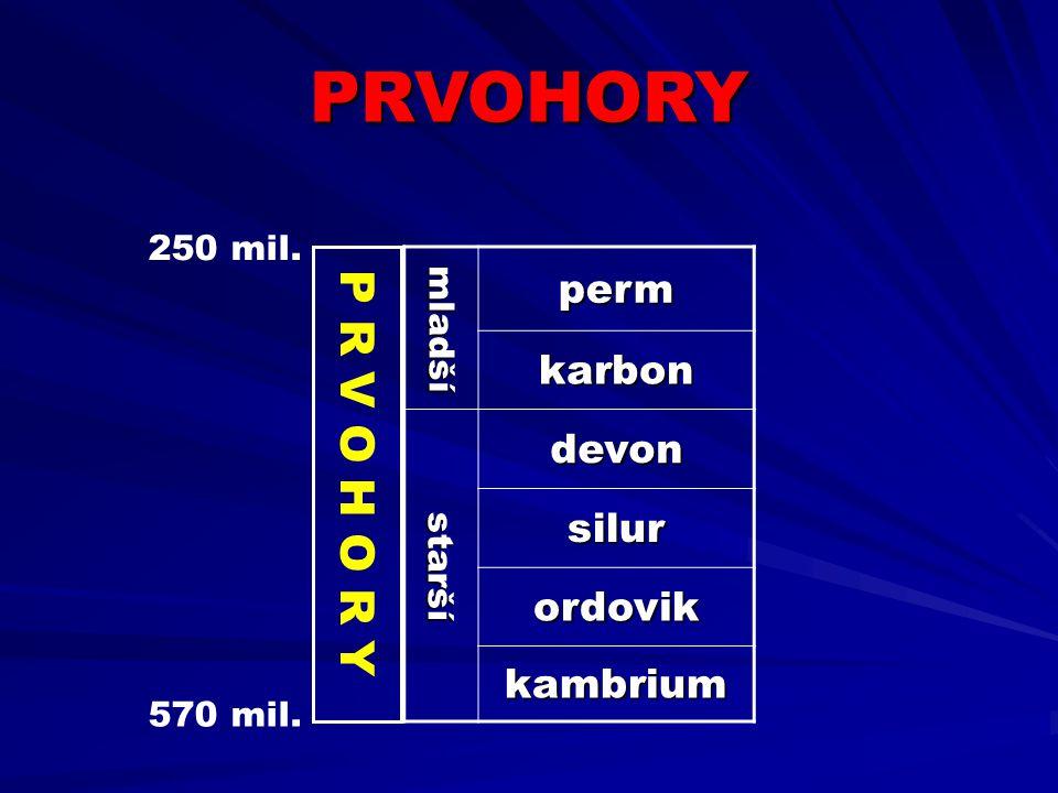PRVOHORY P R V O H O R Y perm karbon devon silur ordovik kambrium