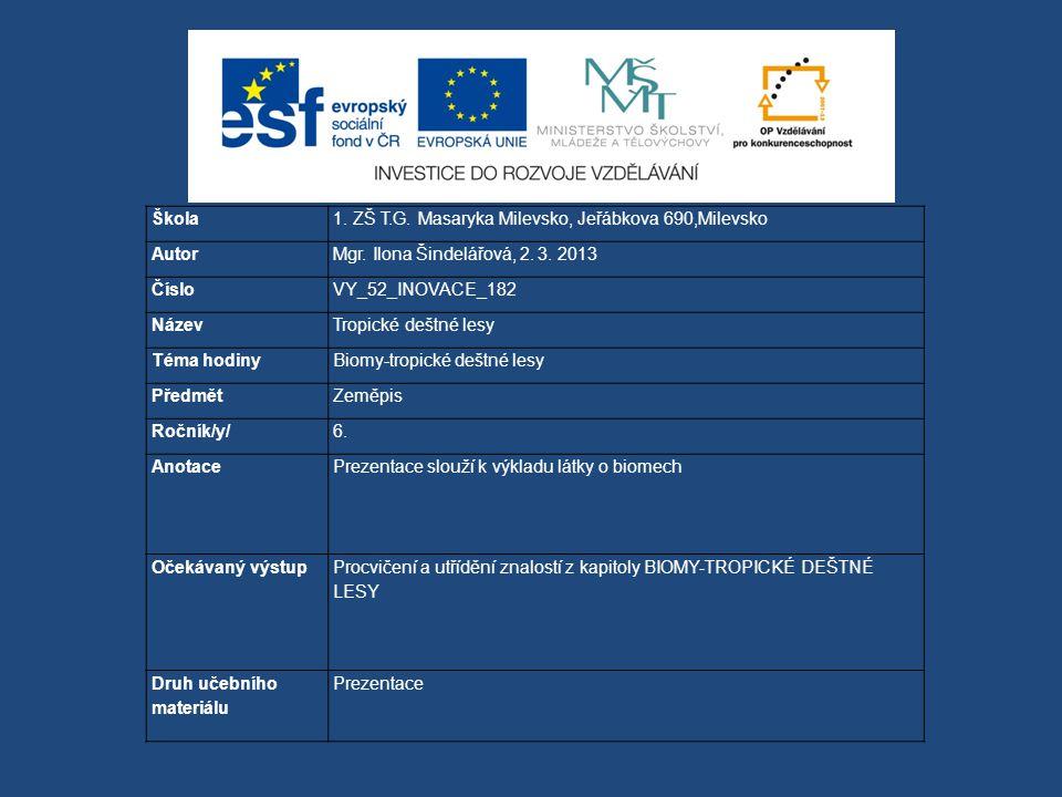 Škola 1. ZŠ T.G. Masaryka Milevsko, Jeřábkova 690,Milevsko. Autor. Mgr. Ilona Šindelářová, 2. 3. 2013.