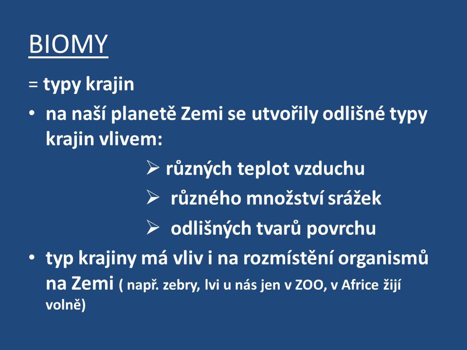BIOMY = typy krajin. na naší planetě Zemi se utvořily odlišné typy krajin vlivem: různých teplot vzduchu.