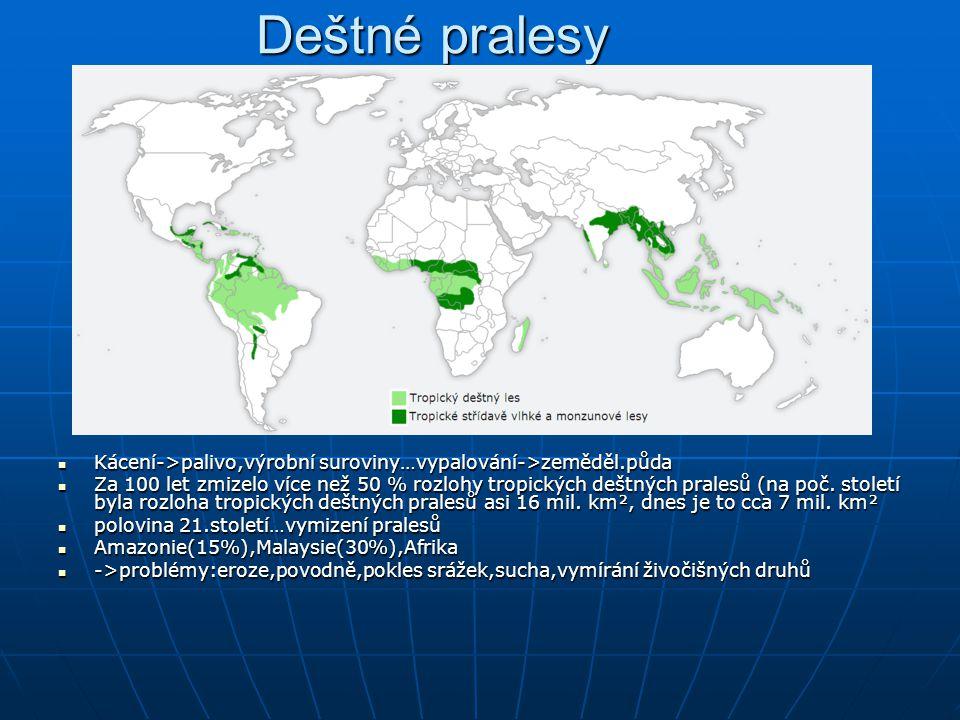 Deštné pralesy Kácení->palivo,výrobní suroviny…vypalování->zeměděl.půda.