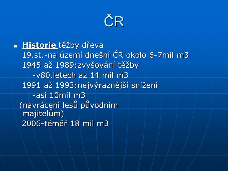 ČR Historie těžby dřeva 19.st.-na území dnešní ČR okolo 6-7mil m3