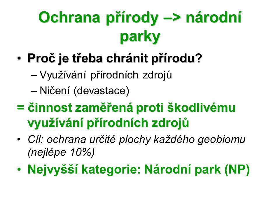Ochrana přírody –> národní parky