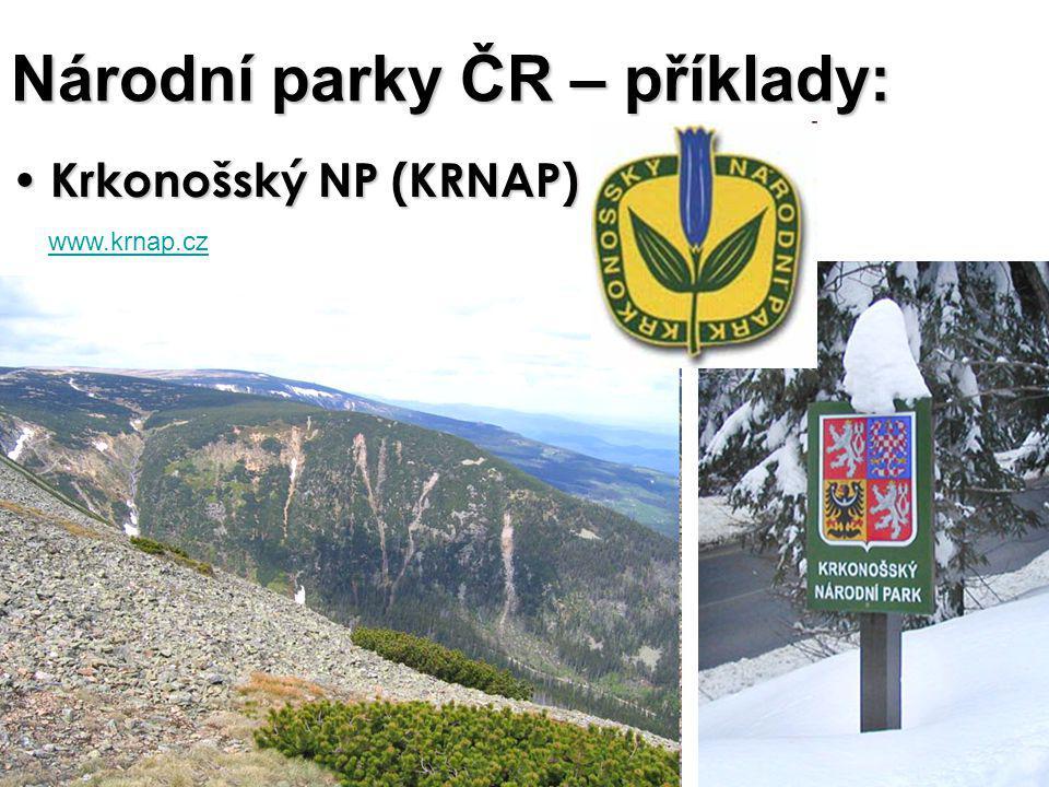 Národní parky ČR – příklady: