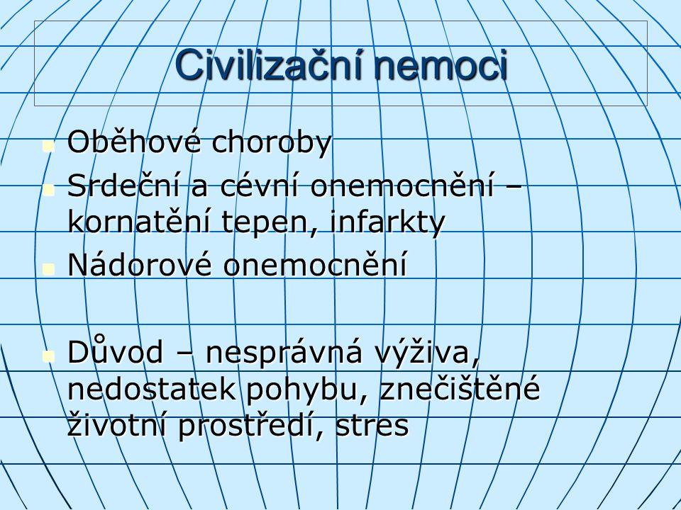 Civilizační nemoci Oběhové choroby
