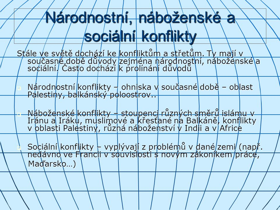 Národnostní, náboženské a sociální konflikty