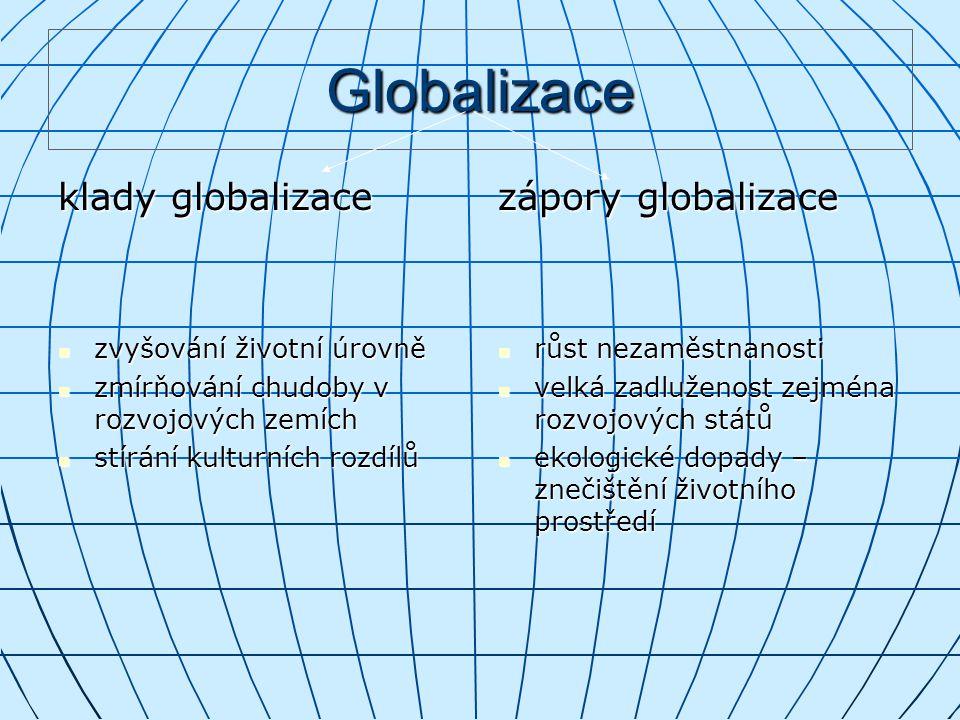 Globalizace klady globalizace zápory globalizace