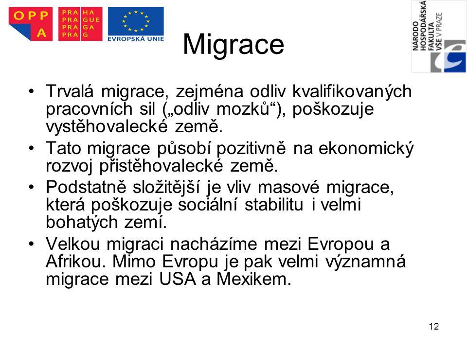 """Migrace Trvalá migrace, zejména odliv kvalifikovaných pracovních sil (""""odliv mozků ), poškozuje vystěhovalecké země."""
