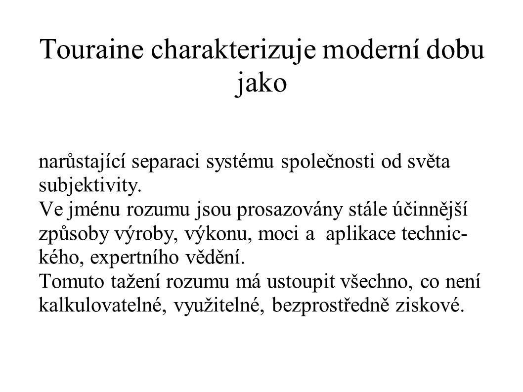 Touraine charakterizuje moderní dobu jako