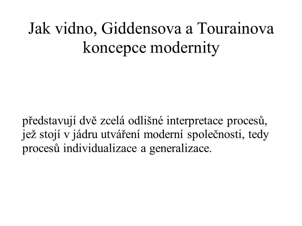 Jak vidno, Giddensova a Tourainova koncepce modernity
