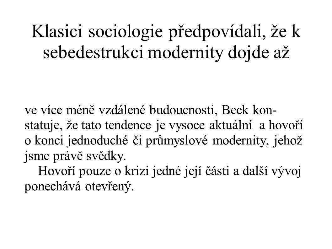 Klasici sociologie předpovídali, že k sebedestrukci modernity dojde až