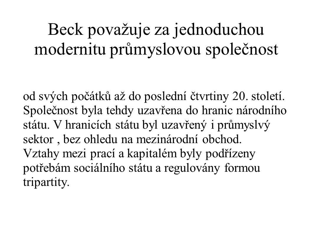 Beck považuje za jednoduchou modernitu průmyslovou společnost