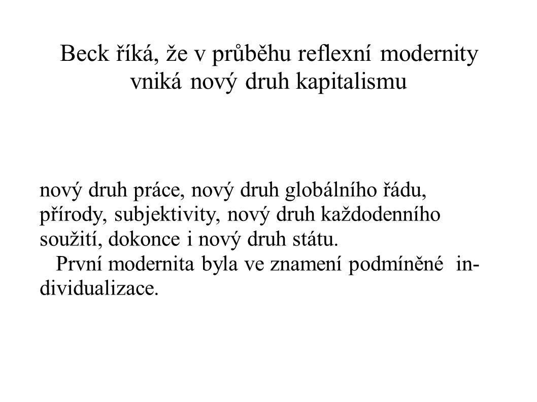 Beck říká, že v průběhu reflexní modernity vniká nový druh kapitalismu