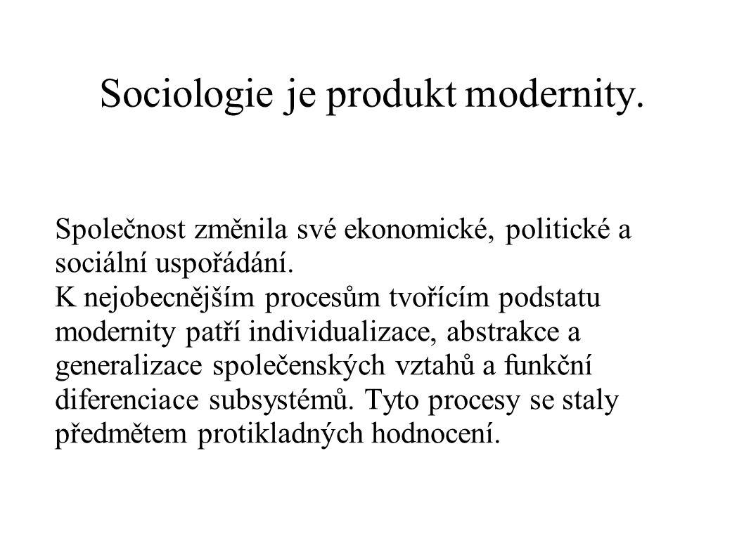 Sociologie je produkt modernity.