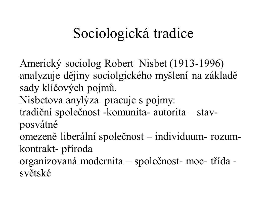 Sociologická tradice Americký sociolog Robert Nisbet (1913-1996) analyzuje dějiny sociolgického myšlení na základě sady klíčových pojmů.