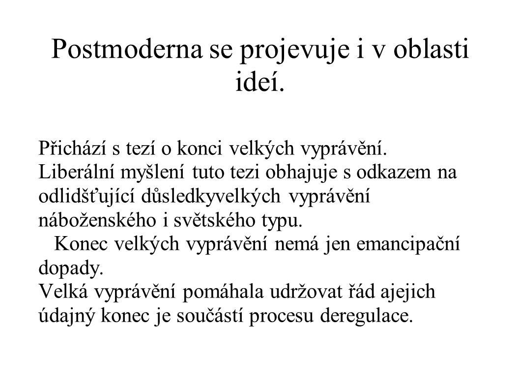 Postmoderna se projevuje i v oblasti ideí.