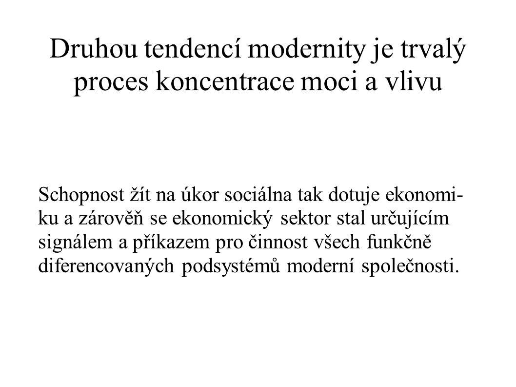 Druhou tendencí modernity je trvalý proces koncentrace moci a vlivu
