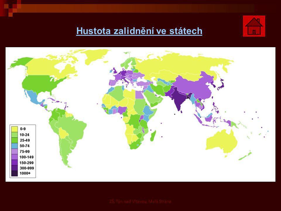 Hustota zalidnění ve státech