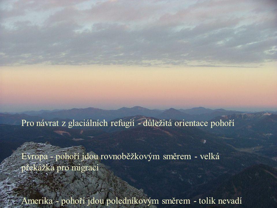 Pro návrat z glaciálních refugií - důležitá orientace pohoří