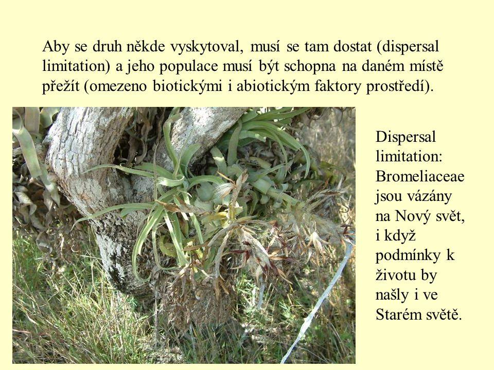 Aby se druh někde vyskytoval, musí se tam dostat (dispersal limitation) a jeho populace musí být schopna na daném místě přežít (omezeno biotickými i abiotickým faktory prostředí).