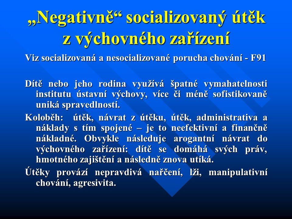 """""""Negativně socializovaný útěk z výchovného zařízení"""