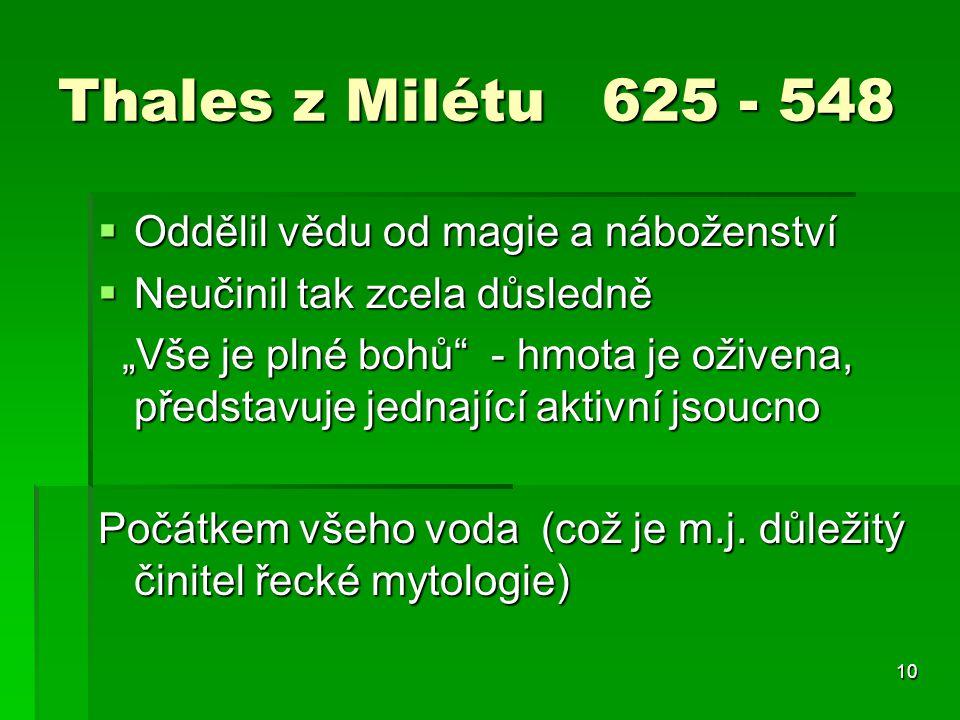 Thales z Milétu 625 - 548 Oddělil vědu od magie a náboženství