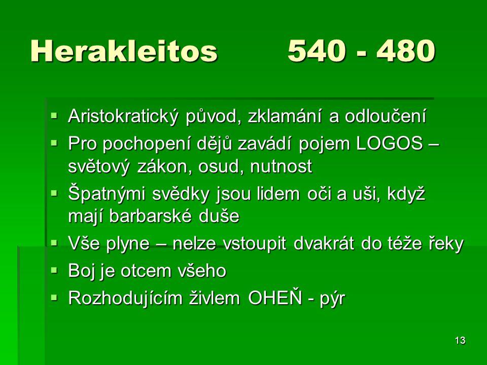 Herakleitos 540 - 480 Aristokratický původ, zklamání a odloučení