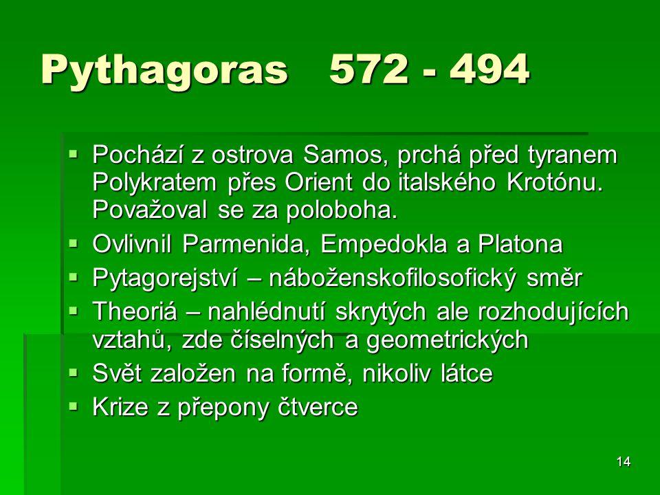 Pythagoras 572 - 494 Pochází z ostrova Samos, prchá před tyranem Polykratem přes Orient do italského Krotónu. Považoval se za poloboha.