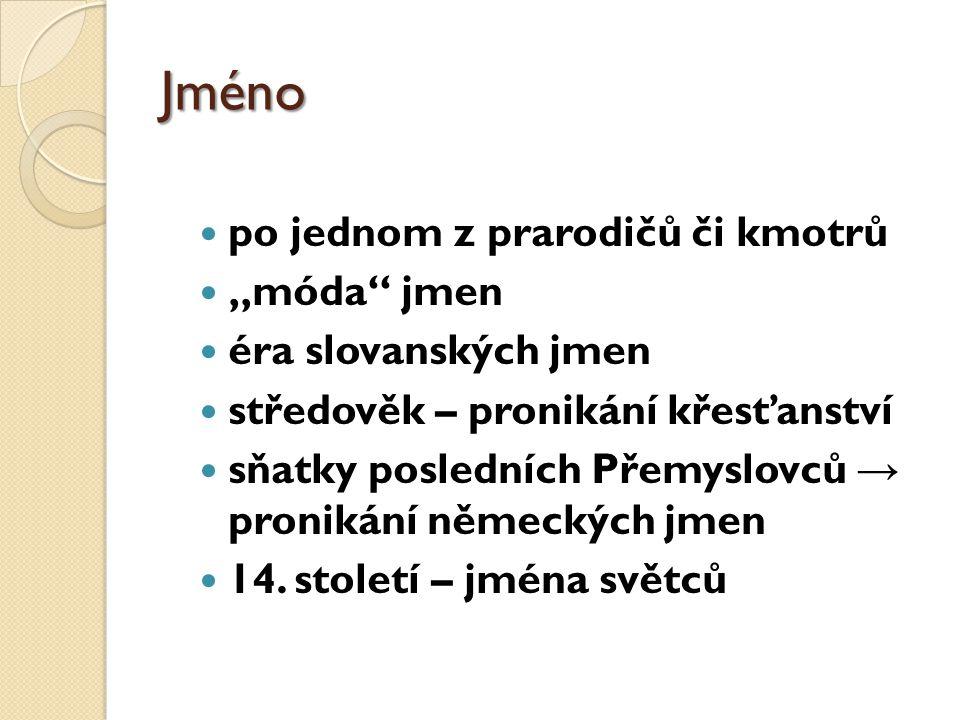 """Jméno po jednom z prarodičů či kmotrů """"móda jmen éra slovanských jmen"""